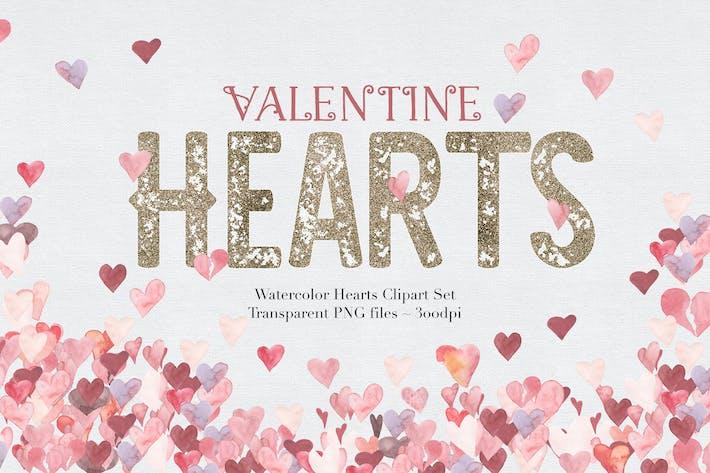 Thumbnail for Aquarelle Coeurs de Saint-Valentin