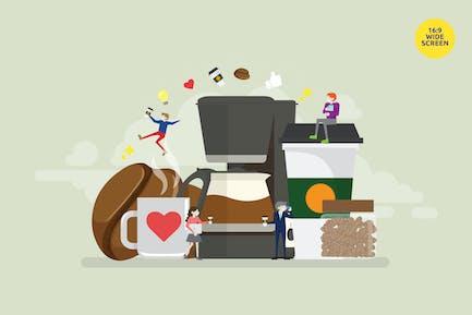 Кофе любовник Вектор иллюстрация Концепция