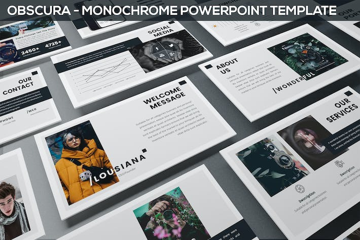 Thumbnail for Obscura - Monochrome Powerpoint Template