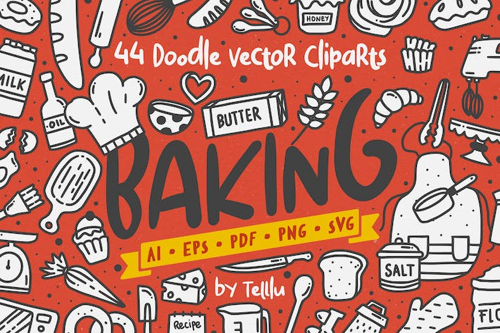 Thumbnail for Baking Doodle Vector Clipart