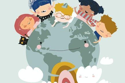Globe kids. International friendship day. Earth