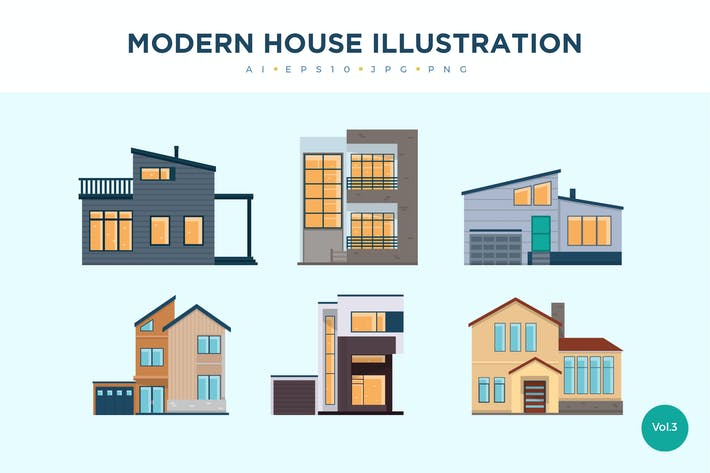 Thumbnail for 6 Modern House Vector Illustration Set 3