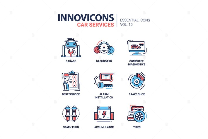 Thumbnail for Car Services modern thin line design icons
