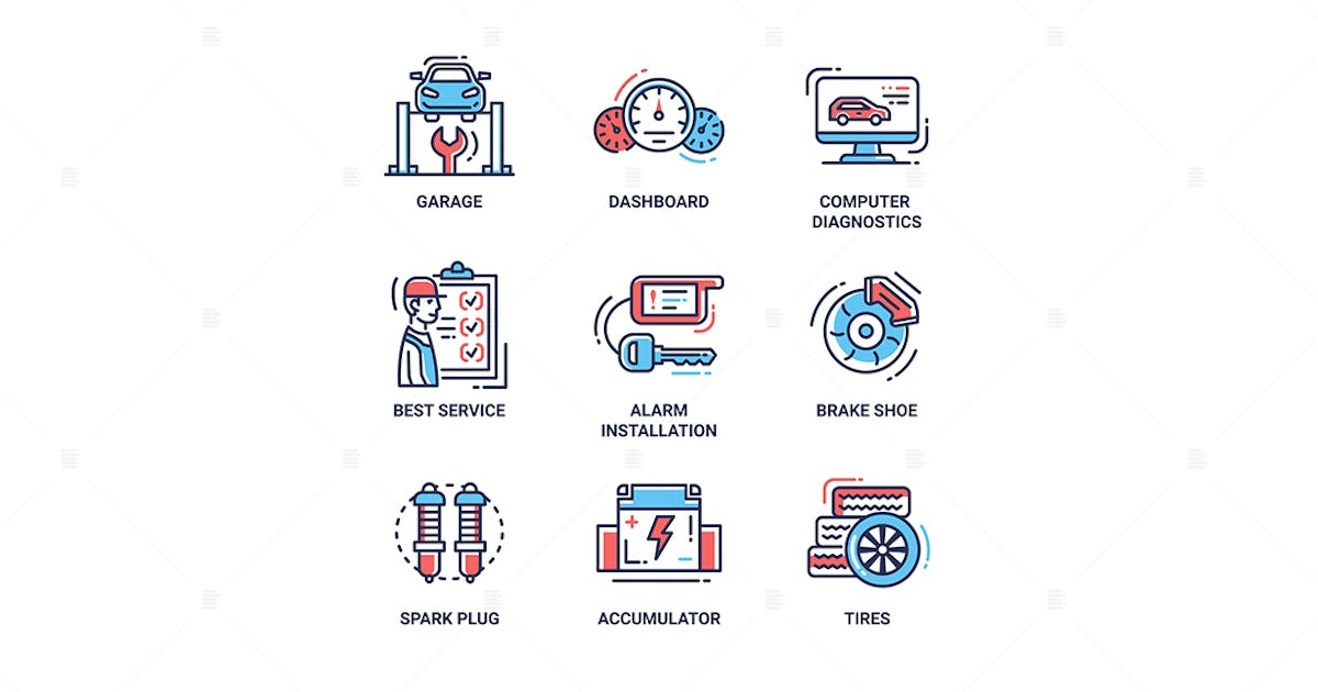 Download Car Services modern thin line design icons by BoykoPictures