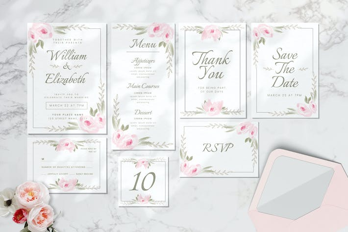 Thumbnail for Wedding Invitation Set - Watercolor Style