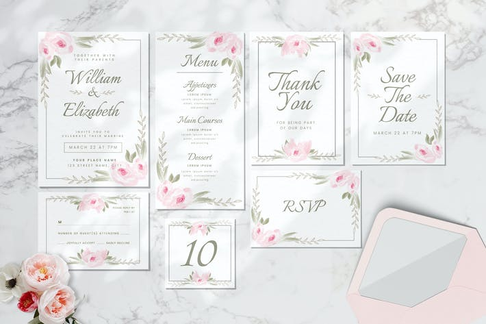 Thumbnail for Hochzeitseinladungs-Set - Aquarell-Stil
