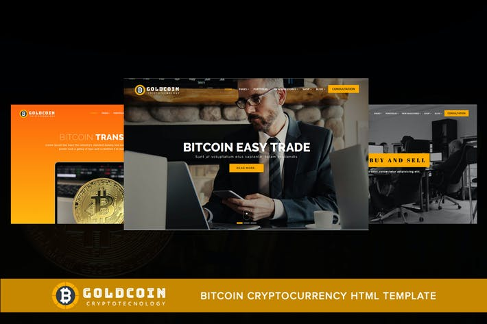 Cover Image For GoldCoin - Bitcoin Cryptocurrency HTML Template
