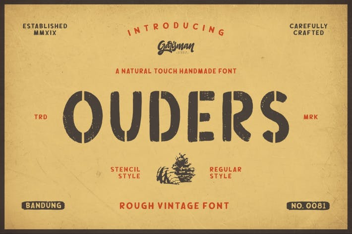 Thumbnail for Ouders | Vintage Stencil Typeface