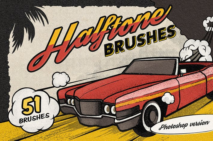 Thumbnail for Vintage Comic Book Halftone Brushes