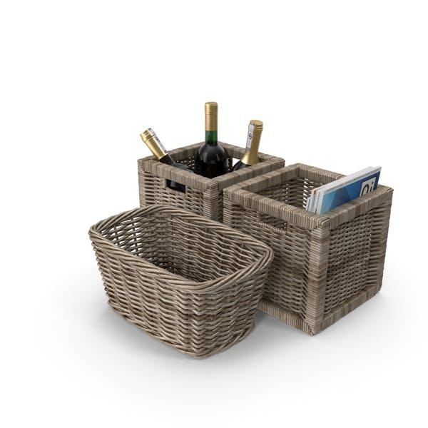 Плетеные корзины с журналах и вином