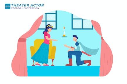 Theater Actor Flat Illustration