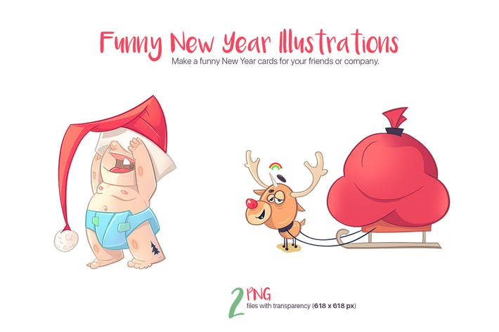 Cover Image For Funny New Year Illustrations