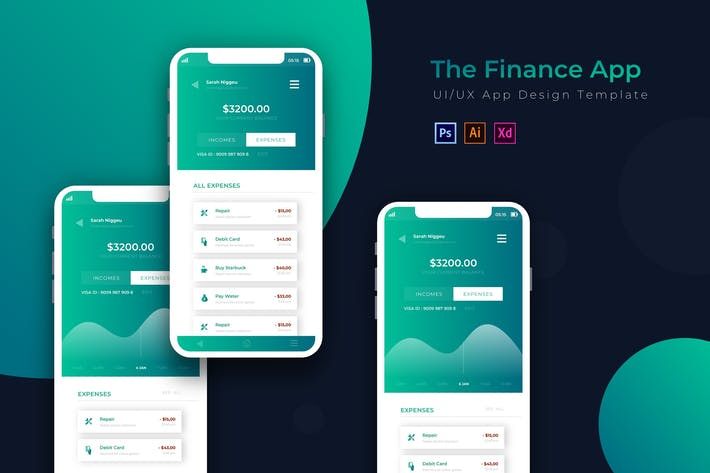Thumbnail for Blue Finance | App Design Template