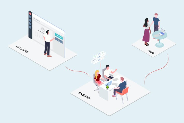 Thumbnail for Team Work - CRM Platform Isometric Illustration