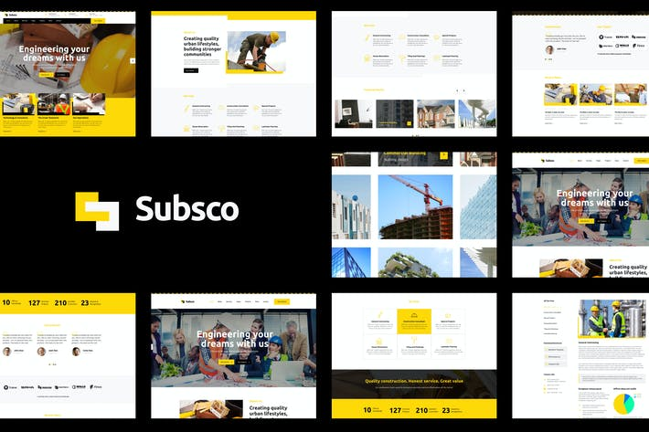 Thumbnail for Subsco - Construction Figma Template