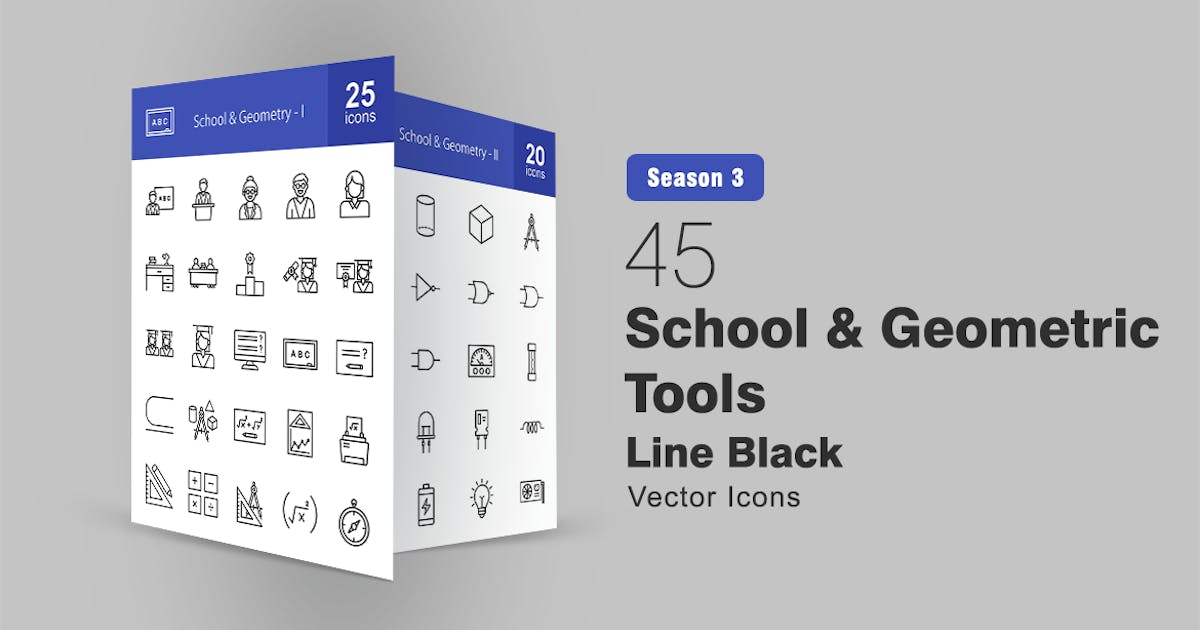 Download 45 School and Geometric Tools Line Icons by IconBunny