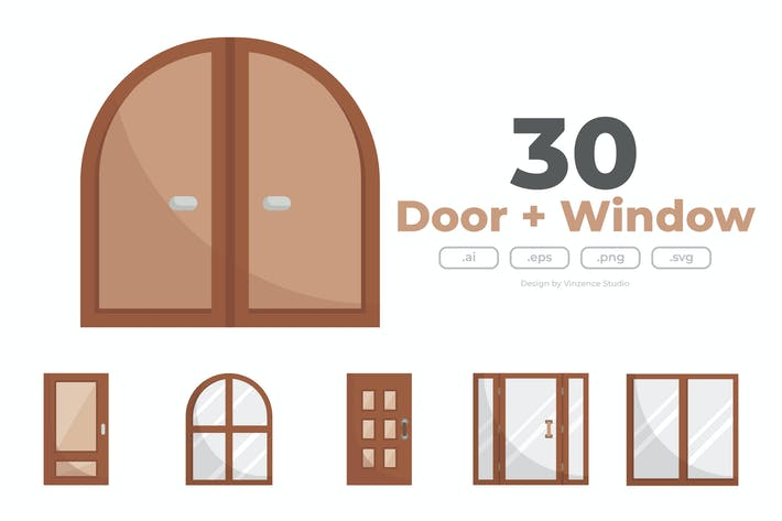30 Doors and Windows Icons - FLAT