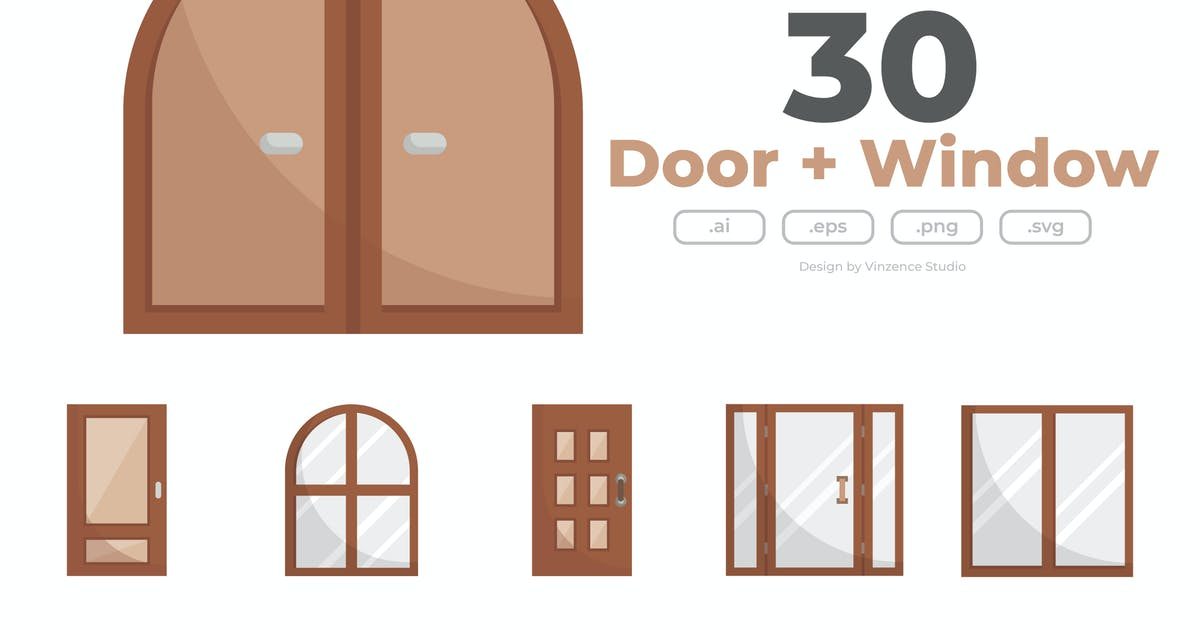 Download 30 Doors and Windows Icons - FLAT by winnievinzence