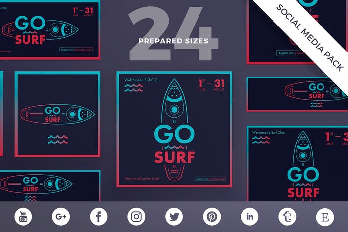 Thumbnail for Surf Sport Club Social Media Pack Template