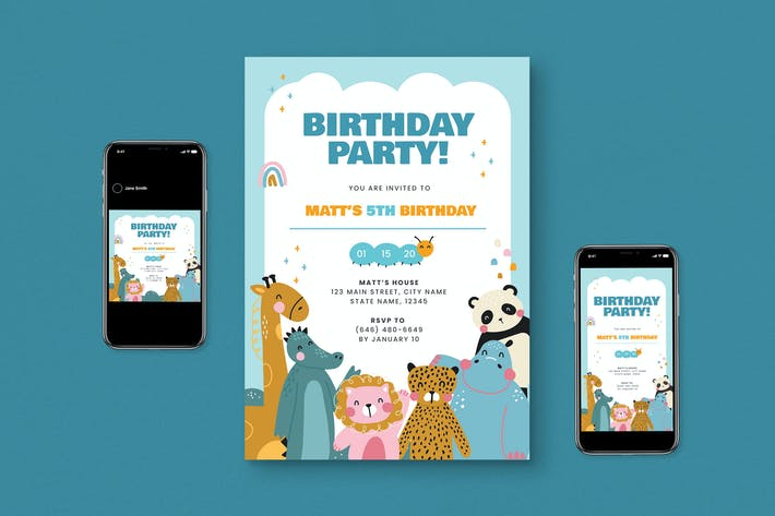 Thumbnail for Kids Birthday Party Flyer Pack