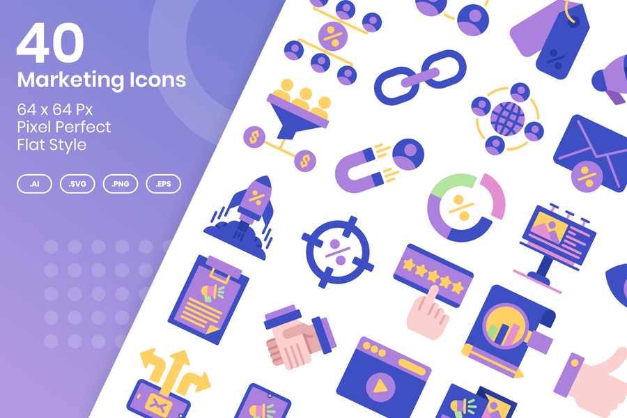 40 Marketing-Icons Set - Flach