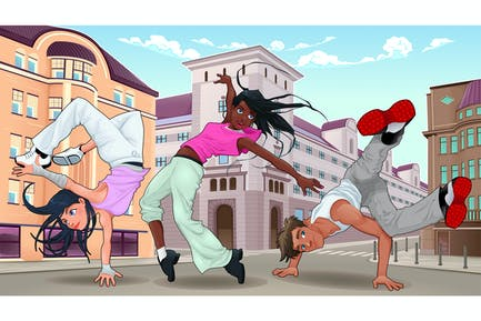 Lustige Breakdancer in der Stadt