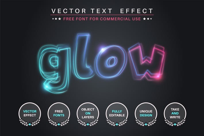 Quivering glow - editable text effect, font style