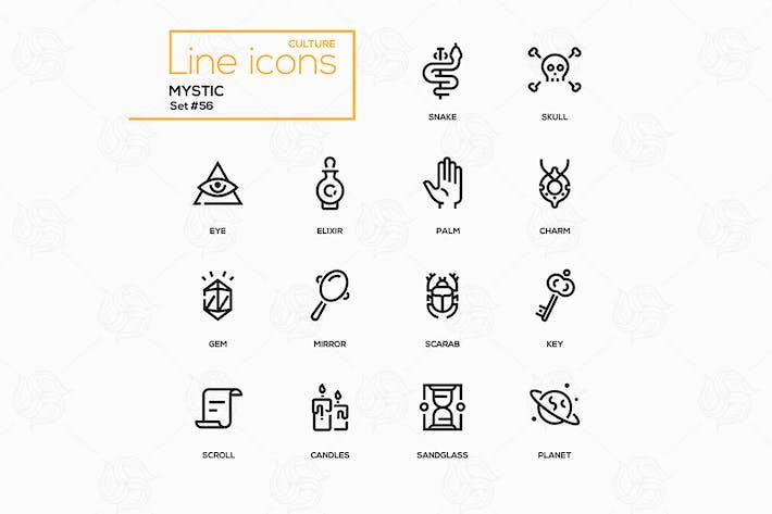 Thumbnail for Kultur Thema, Mystik - Linie Design Icons Set