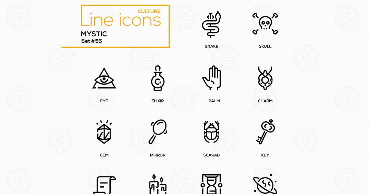 Download Culture theme, mystic - line design icons set by BoykoPictures