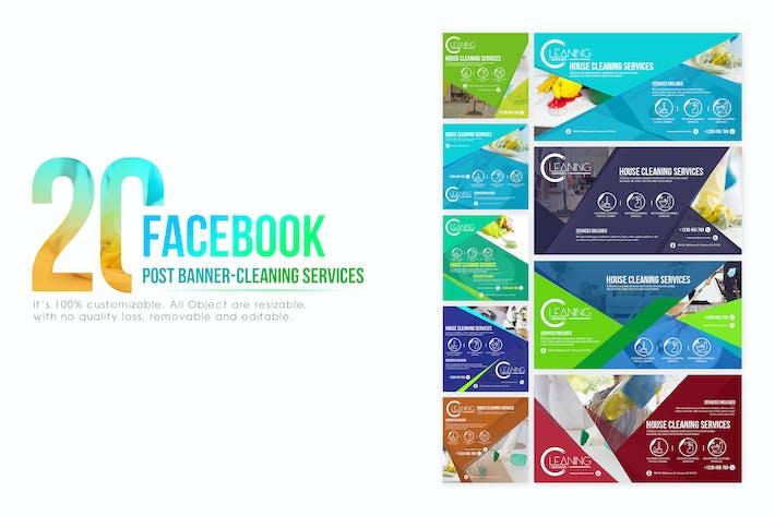 Thumbnail for 20 Facebook Post bannière — Service de nettoyage