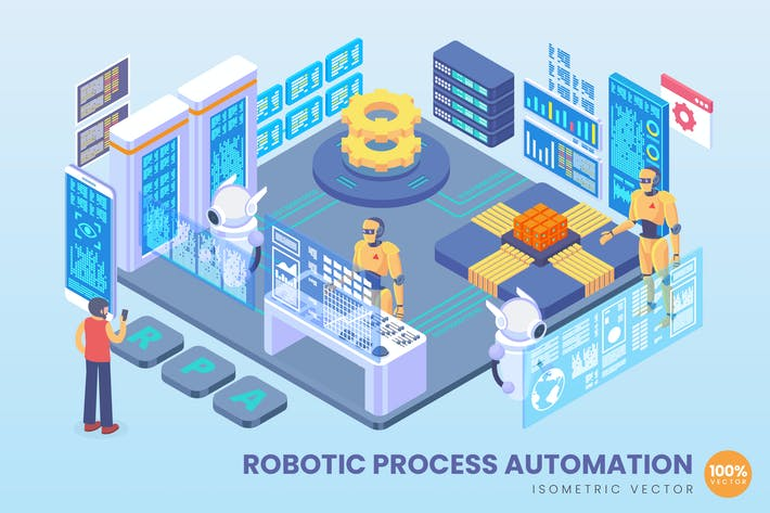 Thumbnail for Isometric Robotic Process Automation Vector