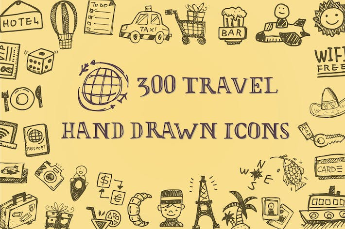 Cover Image For Travel Hand Drawn Icons