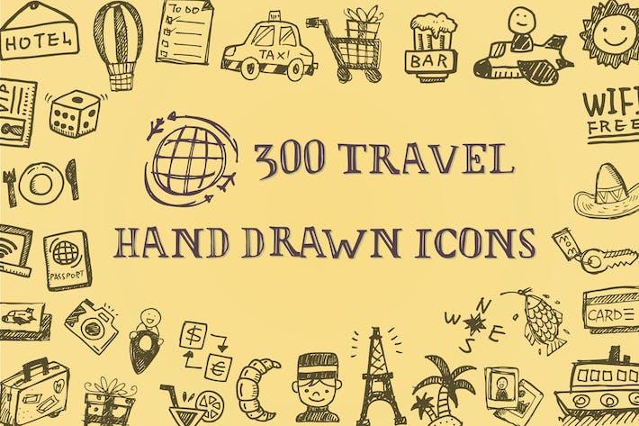 Íconos de viaje dibujados a Mano