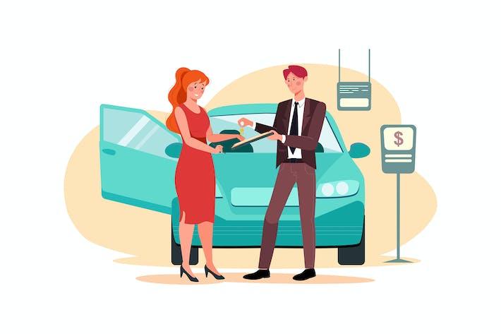Thumbnail for Junge lächelnde Frau immer Schlüssel eines neuen Autos