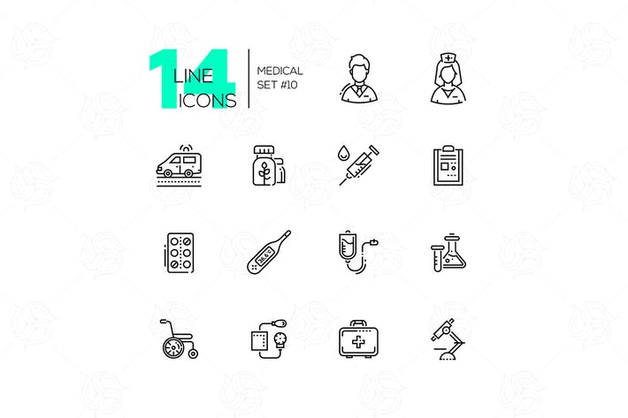 Cover Image For Medical Equipment - line icons set