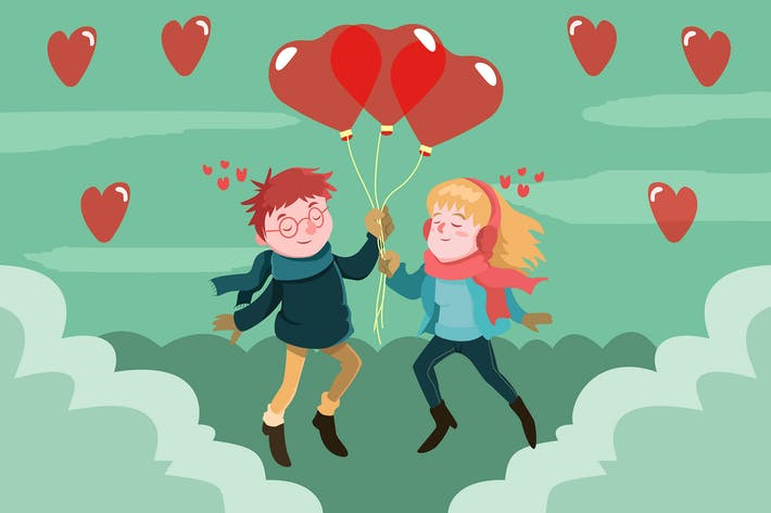 Thumbnail for Happy Loving with Balloons - Vector illustration
