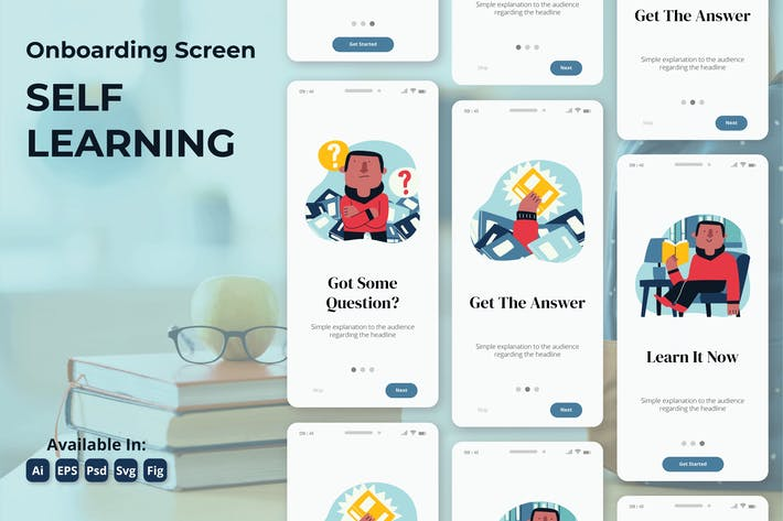 Thumbnail for Onboarding-Bildschirm für Online-Studienbildung