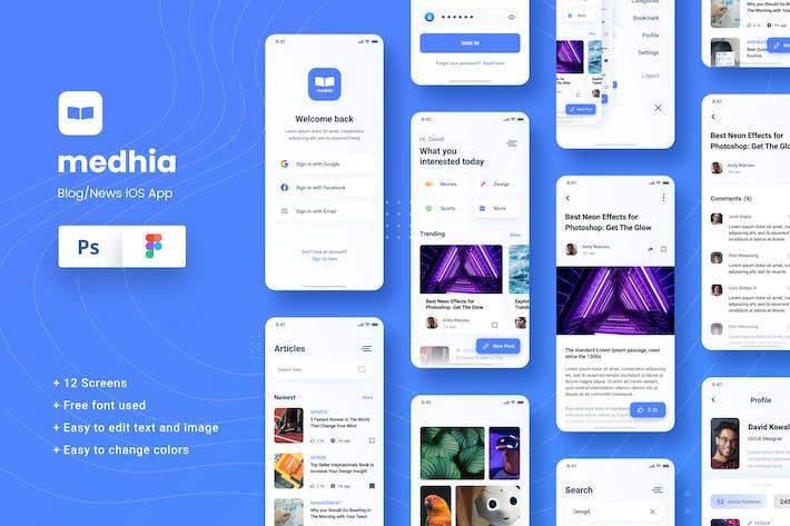 Thumbnail for Blog News iOS App Figma & PSD Template