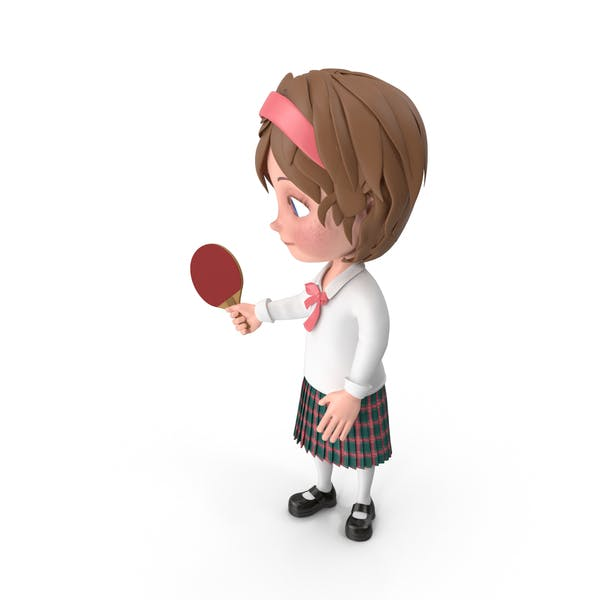 Cartoon Girl Meghan Playing Table Tennis