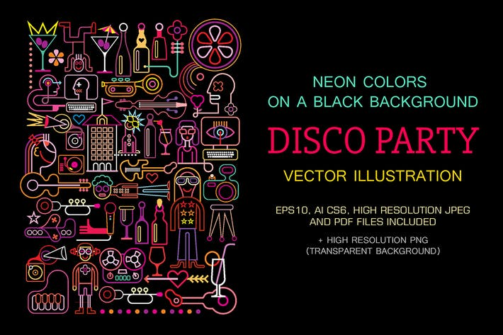 Thumbnail for Disco Party vector illustration (neon colors)