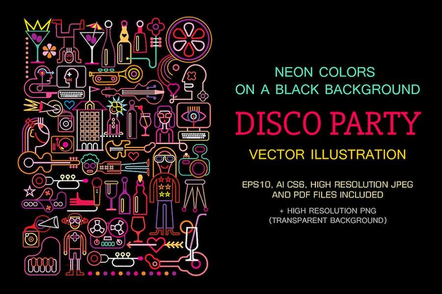 Disco Party vector illustration (neon colors)