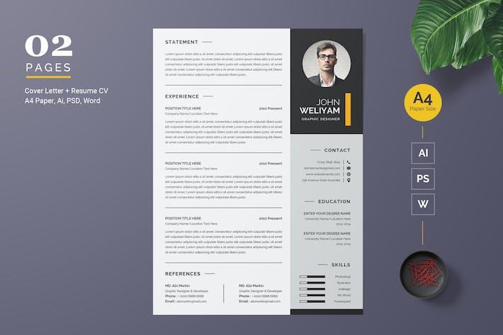 Cover Image For Modern Resume / CV Template