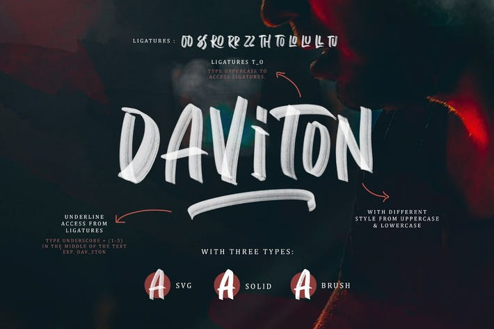 Thumbnail for Daviton SVG - Freestyle Font