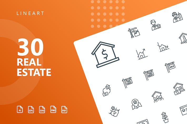 Thumbnail for Real Estate Line Icons