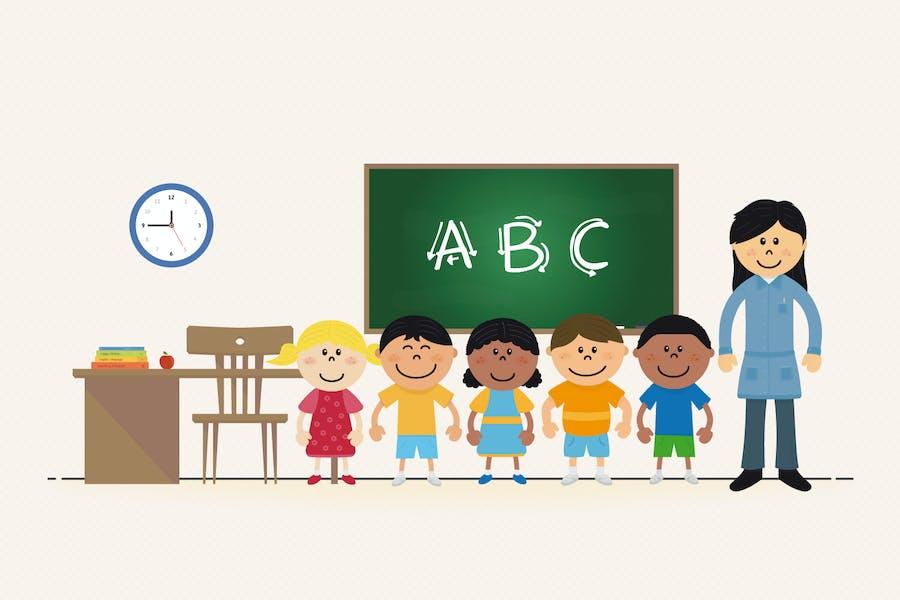 Profesora y Niños en la escuela