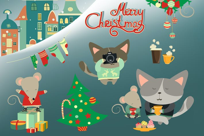 Thumbnail for Set of cute cat with little mouse. Vector
