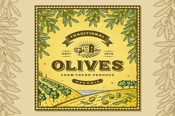 Vintage-Oliven Label