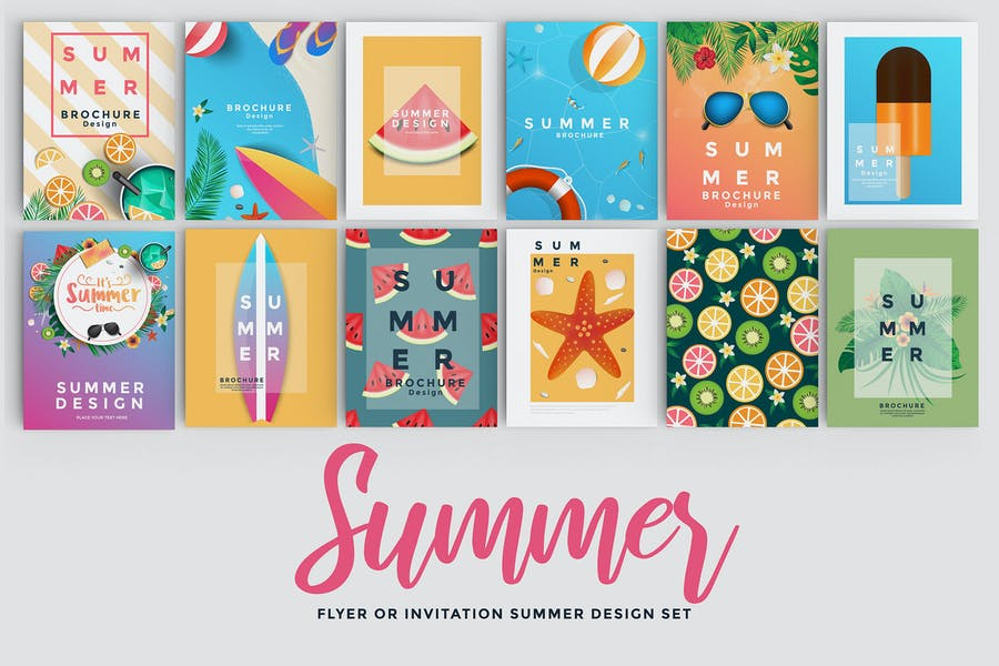 Set of 12 Summer Flyer Templates