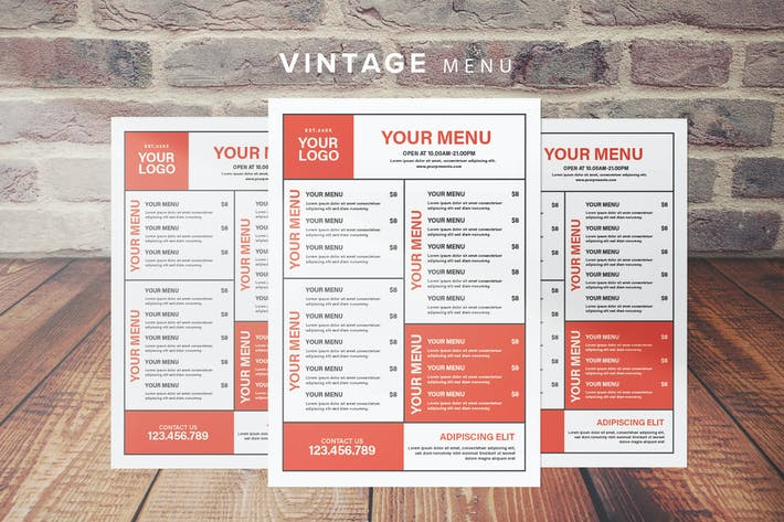 Thumbnail for Vintage Restaurant Menu
