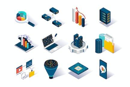 Big Data Analysis Isometric Icons Set